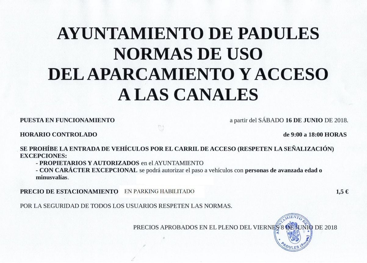 Acceso canales de padules